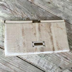 Charles David Snakeskin frame clutch ivory pearl
